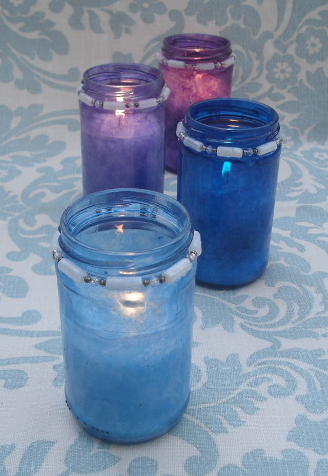 Painted Glass Candle Jars