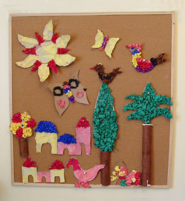 Corkboard Kid's Mural with Tissue Paper Cr