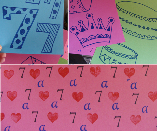 birthday party decorations. 7th Birthday stamped paper