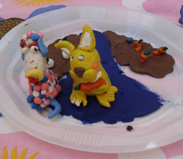 Modeling Clay Bunny+Sheep