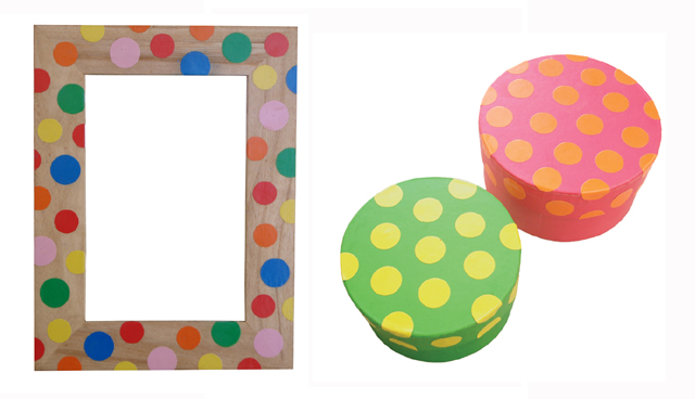 Polka Dot Frame and boxes