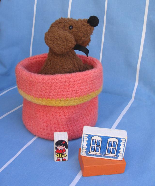 Crocheted+felted basket