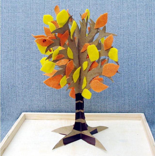 copacel 3d cu frunze din fetru