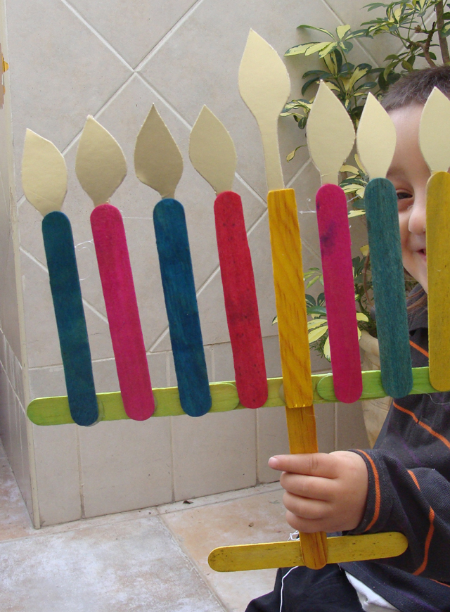Chanukah Popsicle Stick With Child
