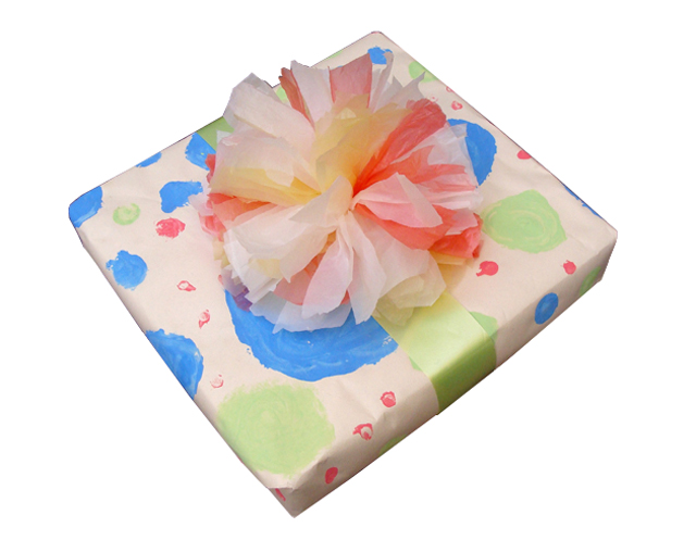 Recycle plastic bags and make unique gift bows creative jewish mom gift wrap plastic bag big bow pom pom negle Gallery