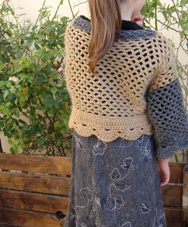 Crocheted Net Cardigan Back Full