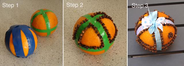 Pomander Step 1, 2, and 3