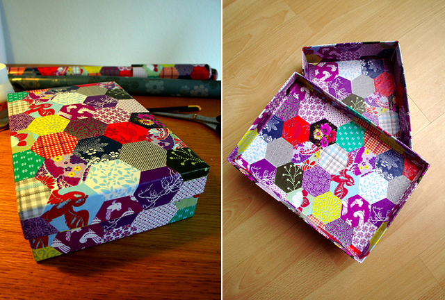 Wrapping Paper Hexigons Box