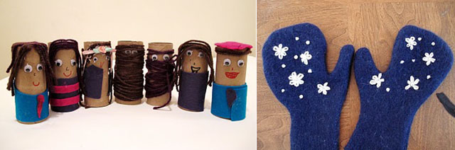 CSS Feb 11 toilet roll people+felted mittens