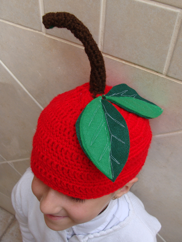Crocheted cherry beanie