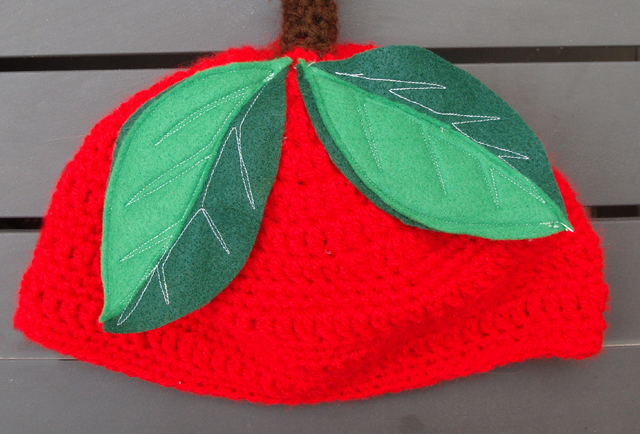 Crocheted Cherry Beanie close up
