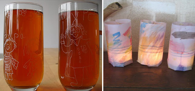 Etched Glasses + Candle Holders