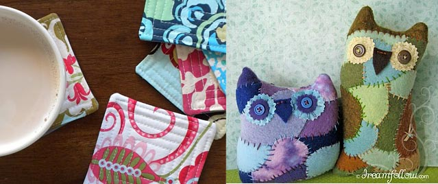 Quilted coasters +scrappy owls