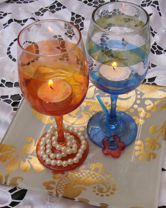 Pesach Wine Glasses+Candles