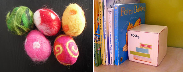Felted eggs + bookend