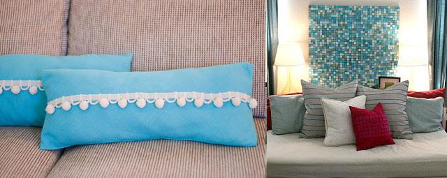 Pom pom pillows +mosaic art