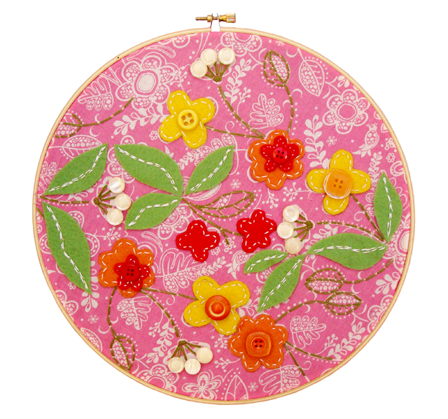Embroidery On Pink Fabric