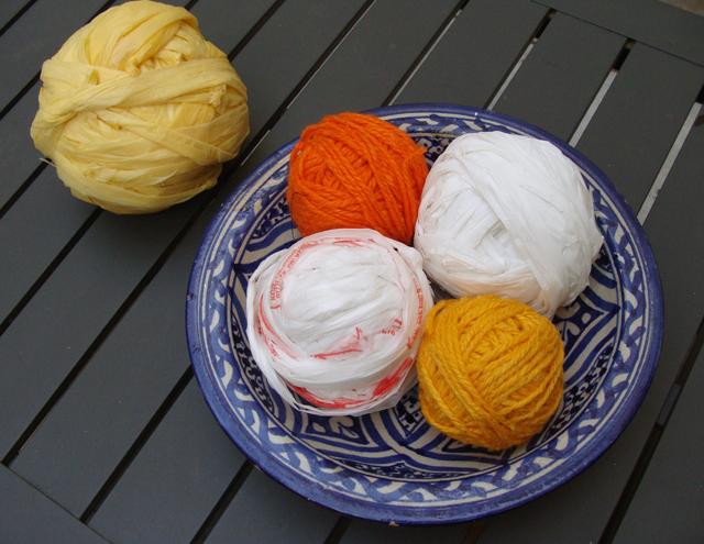 Plarn and Yarn in A Bowl