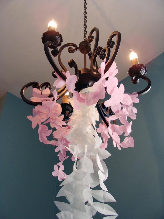 Make Etherial Cherry Blossom Garlands From Disposable Tablecloths! Tu  Bu0027shevat Blossum Garlands Chandelier