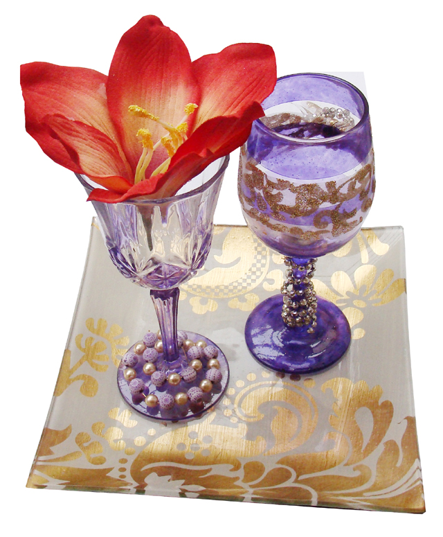 Pesach Wine Glasses with beads