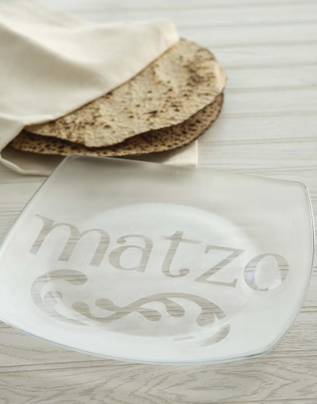 Pesach Matzo Etched Plate