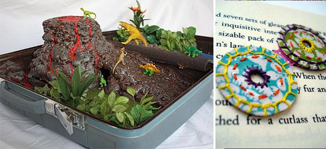 Dinosaur suitcase + plastic bottle flowers