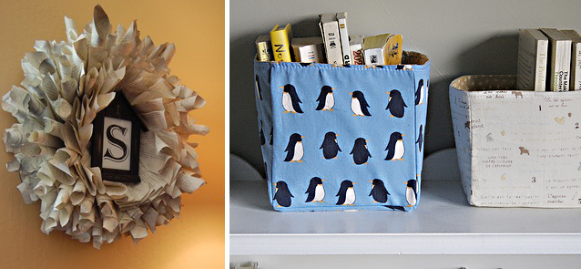 Book Page Wreath+Fabric Baskets