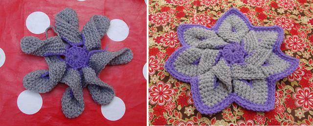 Crocheted Folded Flower Potholder before