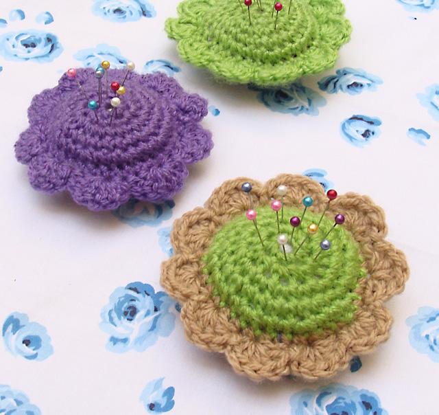 Crocheted floral Pincushion2