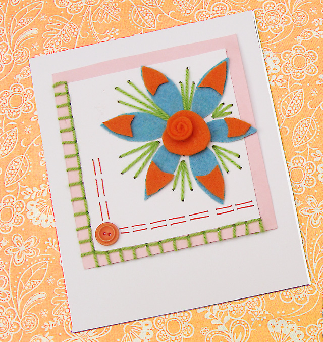 Shavuos Felt Card With Embroidery