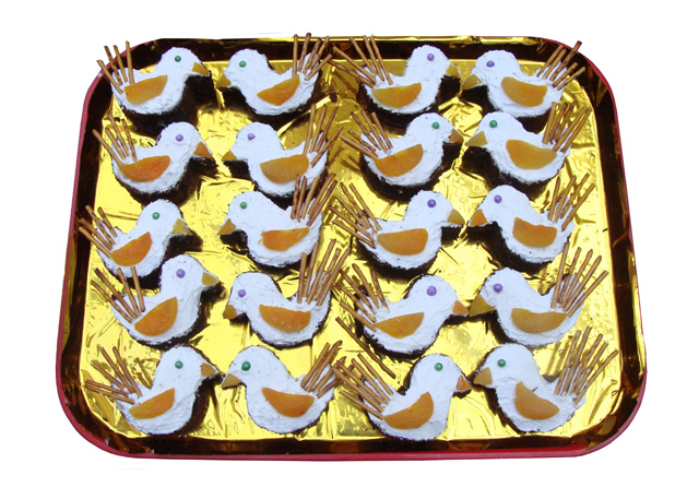 Use A Cookie Cutter To Make Bird Shaped Cakes