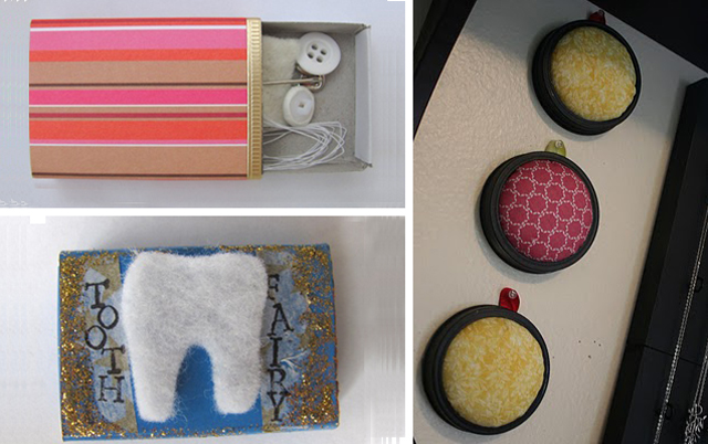Match boxes, wall pin cushions