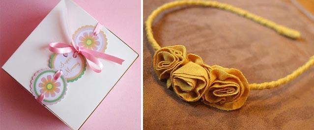 Gift wrap idea+flower headband