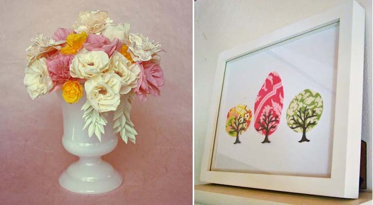 Crepe Paper flowers +quick tree art