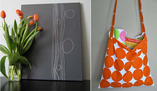 Abstract painting + messenger bag