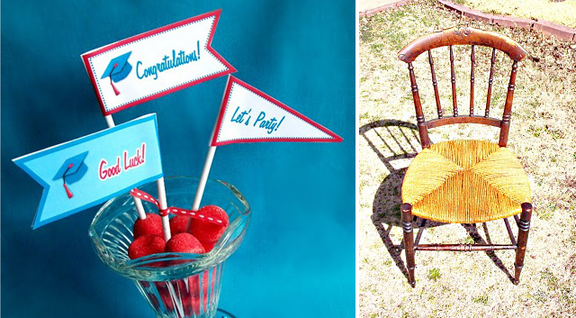 Graduation food flags + re-caning a chair tut.
