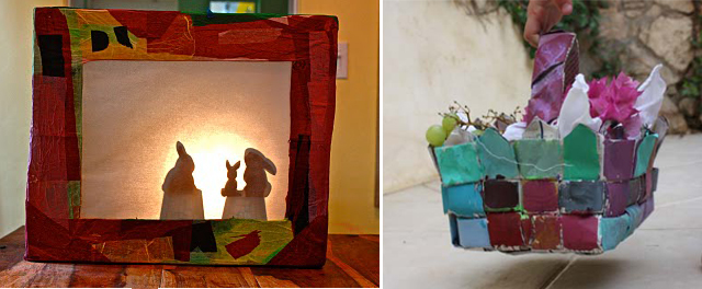 Shadow box + woven newspaper basket
