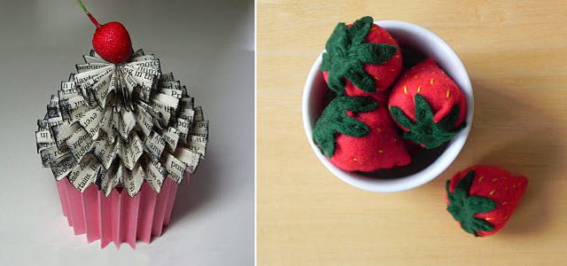 Felt Strawberries +Cupcake box