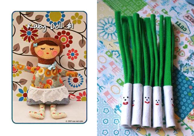 Ruby Doll Sewing Pattern, felt green onions