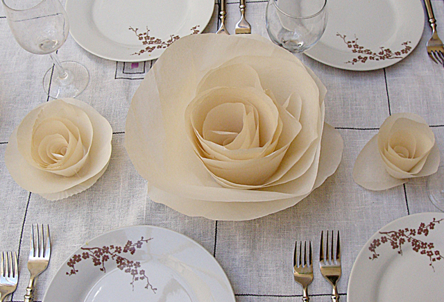 Paper Cabbage Rose Large on Table