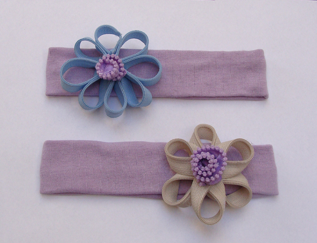 Zipper flowers on headbands