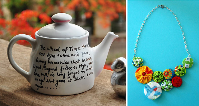 Painted teap pot with quote + yo-yo necklace