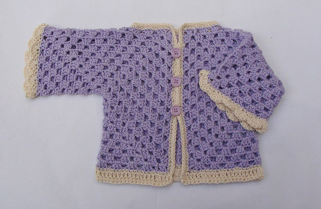 Crochet Hex Baby Surprise Sweater Folded Sleeve