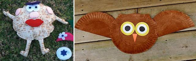 Matzo man, paper plate owl