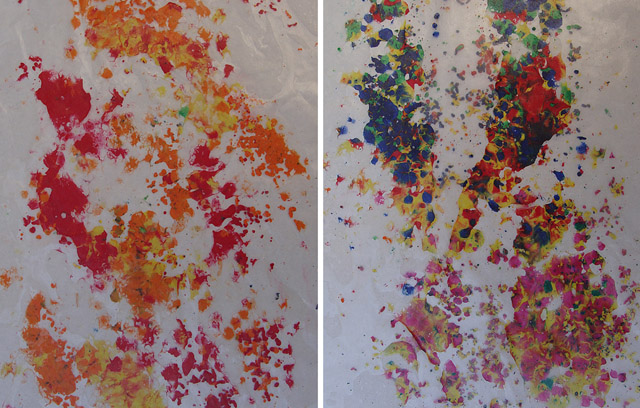 Wax Paper +Melted Crayon Art