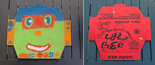Pizza Box Top Robot Kids Version+back
