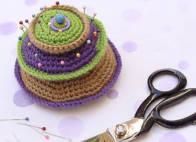 Crocheted Layered pin cushion2