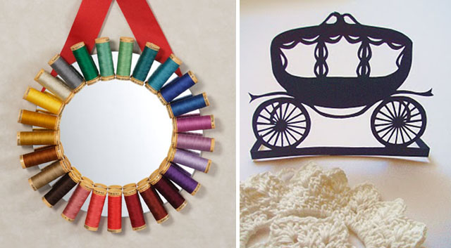 Thread spool mirror and cut paper carriage