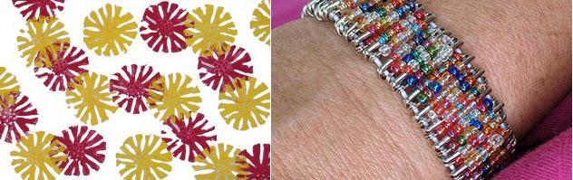 Modeling clay print, safety pin bracelet