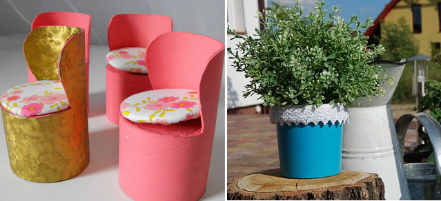 Toilet Tube doll chairs, cheese container planter